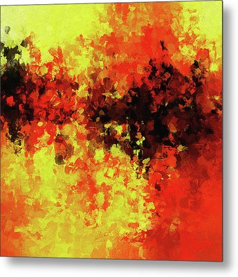 Metal Print featuring the painting Yellow, Red And Black by Ayse Deniz