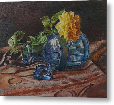 Yellow Rose On Blue Metal Print by Mary Jo Jung