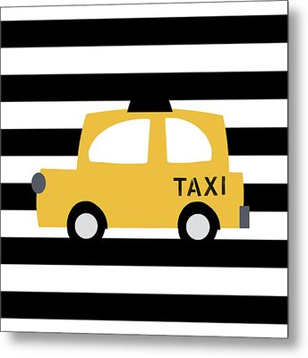 Yellow Taxi With Stripes- Art By Linda Woods Metal Print