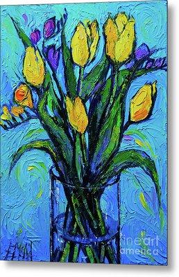 Yellow Tulips And Freesia Metal Print
