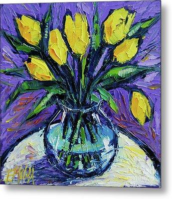 Yellow Tulips On White Table - Impasto Etude Metal Print