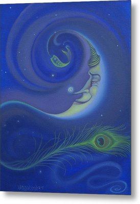 Yin Yang Moon Metal Print