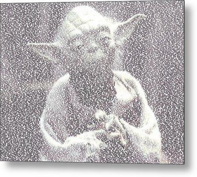 Yoda Quotes Mosaic Metal Print by Paul Van Scott
