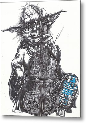 Yoda Soothes Baby R2 With The Charm Of His Homegrown Cello Metal Print by Tai Taeoalii
