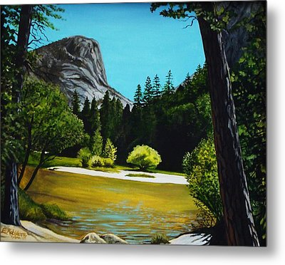 Metal Print featuring the painting Yosemite's Window by Elizabeth Robinette Tyndall