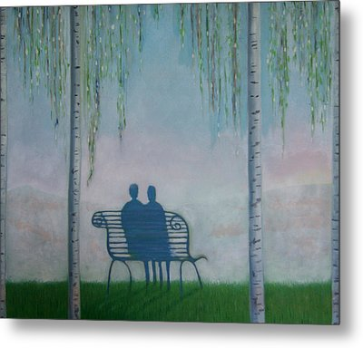 Metal Print featuring the painting You And I On The Bench by Tone Aanderaa