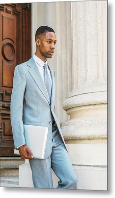 Young African American Businessman Working In New York Metal Print