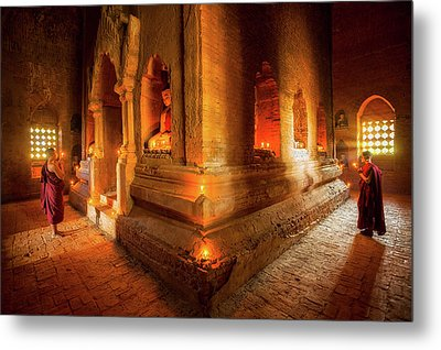 Young Buddhist Monk  Metal Print by Anek Suwannaphoom