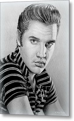 Young Elvis Bw Metal Print