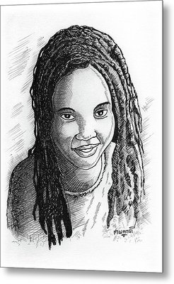 Young Lady Metal Print by Anthony Mwangi
