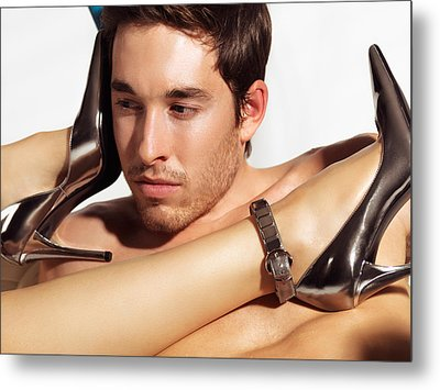 Young Man Face And Woman Legs Metal Print by Oleksiy Maksymenko