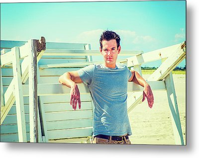 Young Man Relaxing On The Beach Metal Print