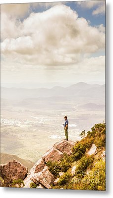 Young Traveler Looking At Mountain Landscape Metal Print by Jorgo Photography - Wall Art Gallery