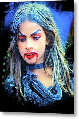 Young Witch With Bloody Lips Metal Print