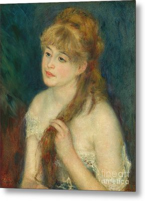 Young Woman Braiding Her Hair - Auguste Renoir Metal Print
