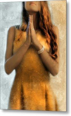 Young Woman Praying Metal Print by Jill Battaglia
