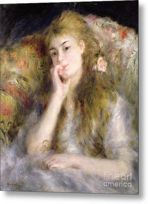 Young Woman Seated Metal Print by Pierre Auguste Renoir
