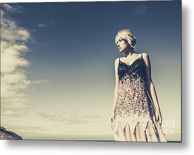 Young Woman Standing On The Beach Metal Print