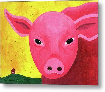 Yuling The Happy Pig Metal Print by Kristi L Randall