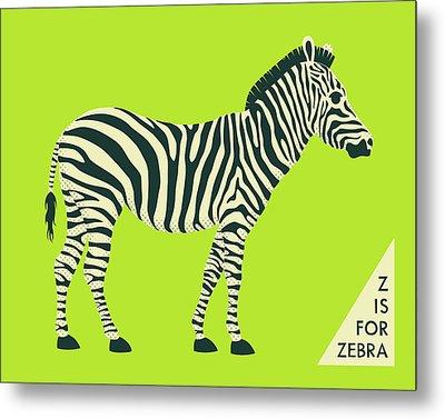 Z Is For Zebra - 2 Metal Print