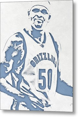 Zach Randolph Memphis Grizzlies Pixel Art Metal Print