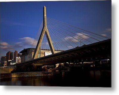Zakim Bridge And Boston Garden At Sunset Metal Print