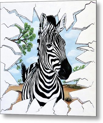 Metal Print featuring the painting Zany Zebra by Teresa Wing