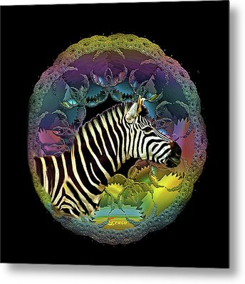 Zebra Metal Print by Julie Grace