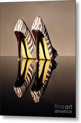 Metal Print featuring the photograph Zebra Print Stiletto by Terri Waters