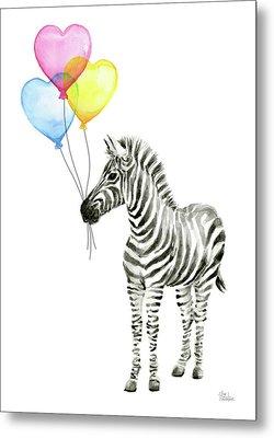 Zebra Watercolor Baby Animal With Balloons Metal Print by Olga Shvartsur
