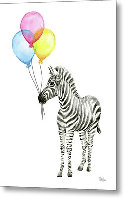 Zebra With Balloons Watercolor Whimsical Animal Metal Print by Olga Shvartsur