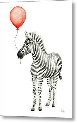 Zebra With Red Balloon Whimsical Baby Animals Metal Print