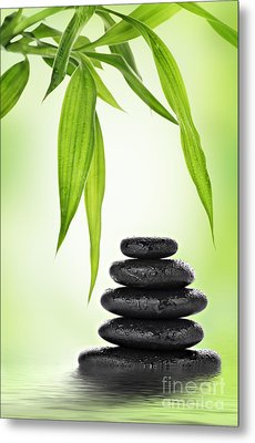 Zen Basalt Stones And Bamboo Metal Print