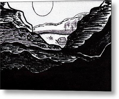 Zen Sumi Midnight Mountain Lake Original Black Ink On White Canvas By Ricardos Metal Print by Ricardos Creations