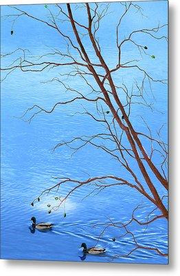 Zen Tree - Autumn Waterscape Metal Print