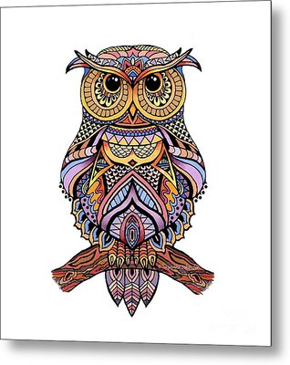 Zentangle Owl Metal Print by Suzanne Schaefer