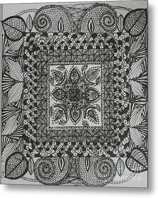 Zentangle Metal Print by Usha Rai
