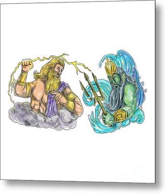 Zeus Thunderbolt Vs Poseidon Trident Tattoo Metal Print