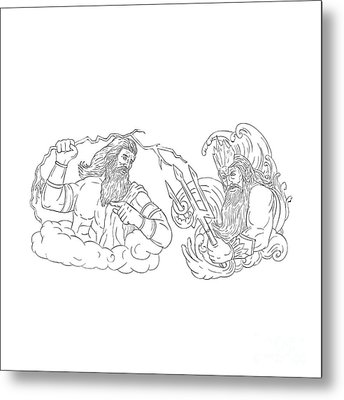 Zeus Vs Poseidon Black And White Drawing Metal Print