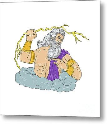 Zeus Wielding Thunderbolt Lightning Drawing Metal Print