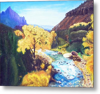 Metal Print featuring the painting Zion's In Autumn by Sherril Porter