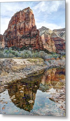 Zions National Park Angels Landing - Digital Painting Metal Print by Gary Whitton