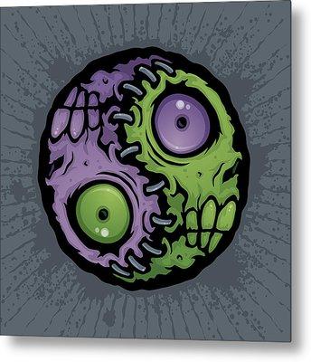 Zombie Yin-yang Metal Print by John Schwegel