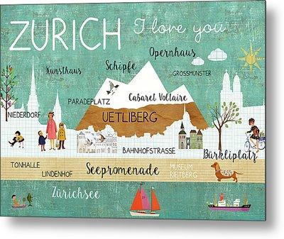 Zurich I Love You Metal Print