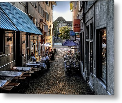 Zurich Old Town Cafe Metal Print by Jim Hill