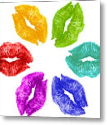 Lipstick Kisses In Color Metal Print