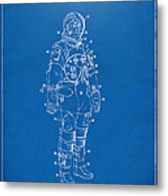 1973 Astronaut Space Suit Patent Artwork - Blueprint Metal Print