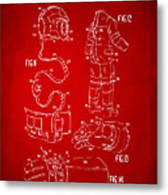1973 Space Suit Elements Patent Artwork - Red Metal Print