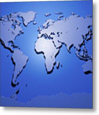World Map In Blue Metal Print by Michael Tompsett