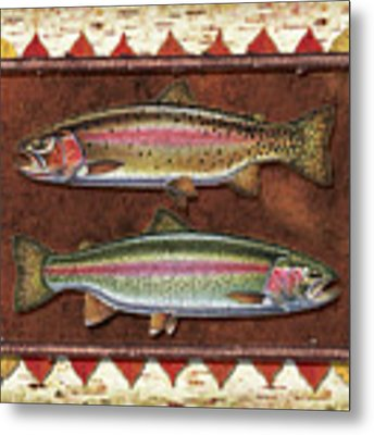 Cutthroat And Rainbow Trout Lodge Metal Print by JQ Licensing